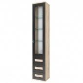 Шкаф 1 дверный со стеклом и ящиками Аурелия