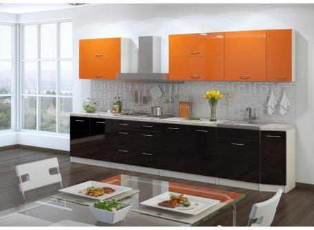 Кухня Барбара чёрно-оранжевая