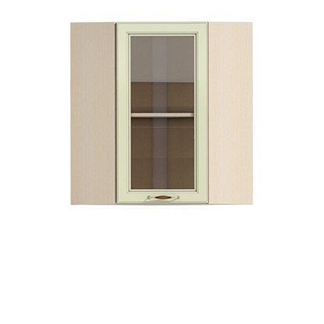 Полка-витрина угловая 600/720 Барбара люкс салатовая