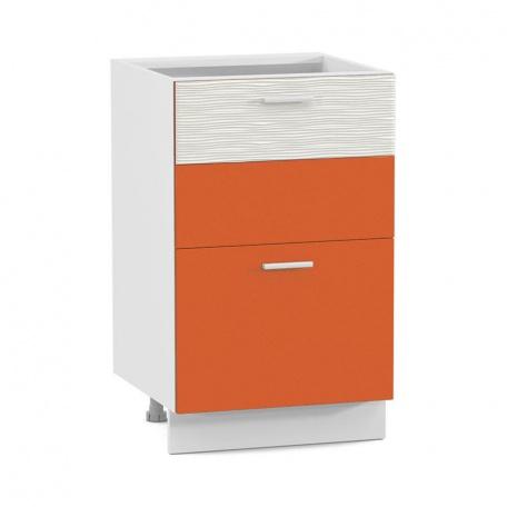 Стол 500 Жанна оранжевая с двумя ящиками