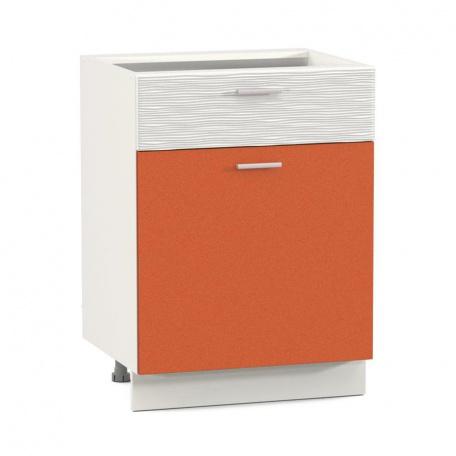 Стол 600 Жанна оранжевая с ящиком и дверью