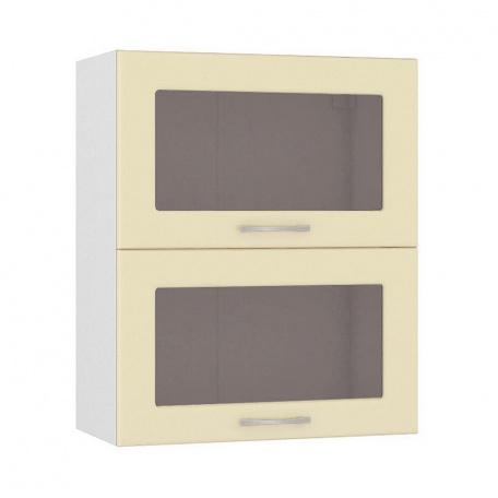 Шкаф горизонтальный 600 Сандра ваниль (2 витрины)