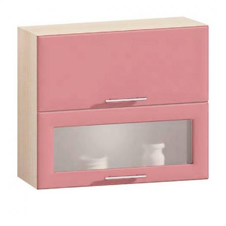 Шкаф с витриной гориз. Е-2849 Комфорт розовый