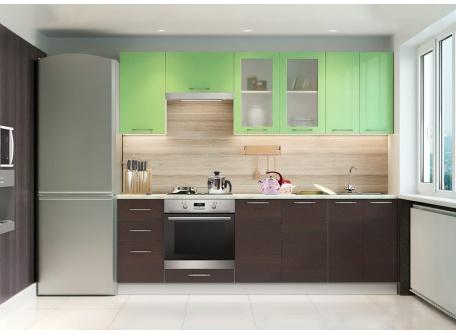 Кухня Одри 2,4 м зелёный металлик / венге